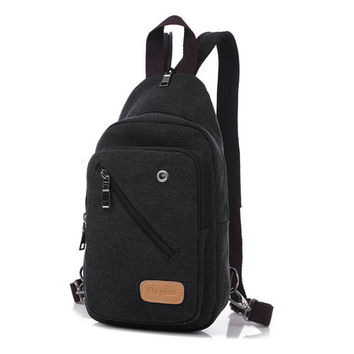Outdoor Women Men Canvas Backpack Satchel Crossbody Bag
