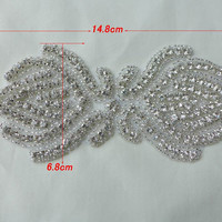 SALE Rhinestone Applique for Bridal Headband, Wedding Dress Sash Belt, DIY Accessories