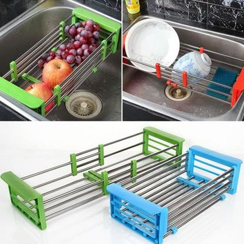 Stainless Steel Adjustable Telescopic Kitchen Over Sink Dish Drying Rack