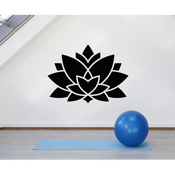 Vinyl Wall Decal Lotus Abstract Flower Nature Yoga Studio Stickers Mural (g453)
