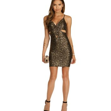 Gold What's Your Name Bodycon Dress