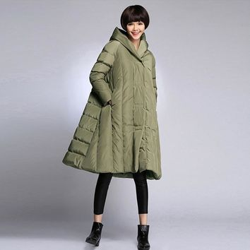 LMU Winter Women Thick Warm Loose Plus Size Long White Duck Down Jacket Personality A-Line Down Coats Sz S M L XL XXL XXXL XXXXL