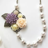 Vintage Floral Collage Style. Purple Blossom, Powder Pink Rose, Ivory Cream Roses, White Swarovski Pearls Bridal Wedding Jewelry Necklace