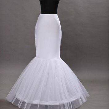 2018 Women Mermaid Petticoat 1 Layer Ruffle Tulle Petticoat For Fistail Bridal gown Underskirt Wedding Accessories