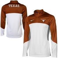 Nike Texas Longhorns Shootaround Quarter Zip Long Sleeve Performance T-Shirt - Burnt Orange/White