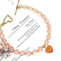 Beaded Bracelet, Pink and Gold Crackled Glass Beads, Heart Drop Pendant, Gold Spacer Beads, Gold Toggle Clasp, Plus Size, Handmade, OOAK
