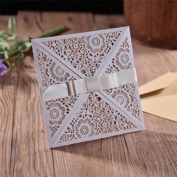 20pcs/lot Hollow Flowers Laser Cut 4 In 1 Wedding & Engagement Invitations