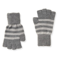 Aeropostale  Mens Striped Fingerless Gloves - Gray