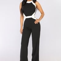 Party Goes On Jumpsuit - Black/White