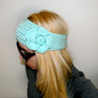 Mint Crochet Flower Headband/ Earwarmer - Pick your color