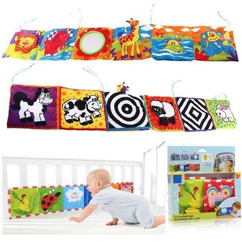 Baby Toys Baby Cloth Book Animal Bed Cognize Educational Montessori Toys For Infant Kids Bed Rattle Cute Cartoon Animal Story