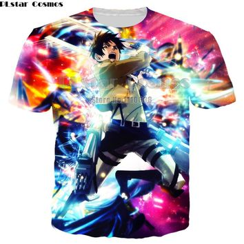 Cool Attack on Titan PLstar Cosmos Anime Summer men women T-shirt Scouting Legion Clothes unisex Tee Shirt  Giant  AT_90_11