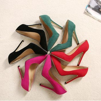 Suede Stiletto Heel Pointed Toe High Heels