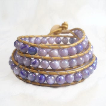 Triple Wrap Bracelet Leather Bracelet Purple Wrap Bracelet