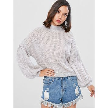 Mock Neck Lantern Sleeve Women  Sweater 5589