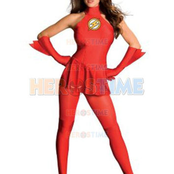 Free Shipping Halloween Costumes For Women Lycra Spandex Justice League The Flash Adult Female Superhero Girls Costume