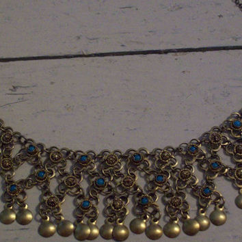 Vintage 70's gold and turquoise choker by cashmerevintage on Etsy