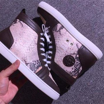 DCCK Cl Christian Louboutin Python Style #2275 Sneakers Fashion Shoes