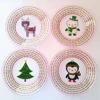 Christmas Decorations, Christmas Plates, Dinnerware, Holiday Decorations, Holiday Dining Set, Reindeer, Snowman, Christmas Tree, Penguin