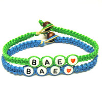 Couples Bracelet, BAE, Before Anyone Else, Set of Two, Neon Green and Bright Blue Hemp and Bamboo Jewelry