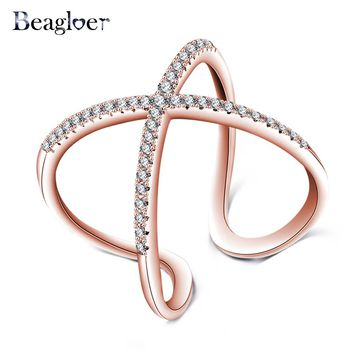 Beagloer Rose Gold Color X Shape Design Rings With Pave Setting Cubic Zirconia Cross Ring Wedding Jewelry Anel Feminino CRI1059