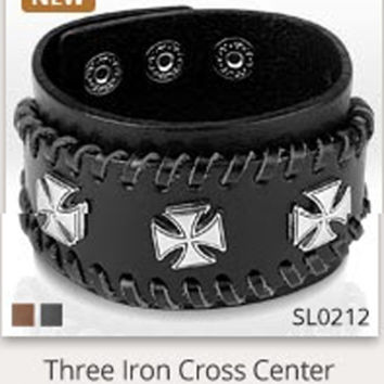 Triple Iron Cross Black Leather Bracelet