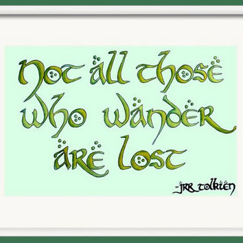 Watercolor Tolkien Print, Decorative Wall Decor, Not all those who wander are lost, JRR Tolkien Wall Art, Giclee Print