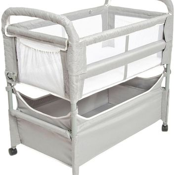Arm's Reach Clear-Vue Baby Co-Sleeper Bedside Bassinet Gray NEW