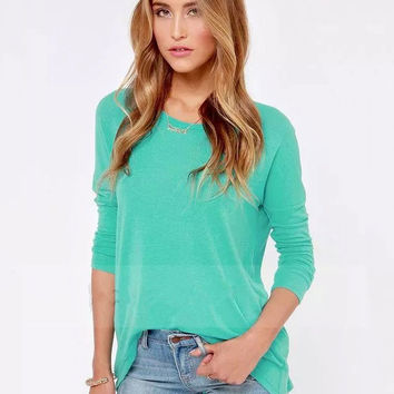 Blue Zipper Back Long Sleeve Shirt