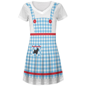 Halloween Dorothy Costume All Over Juniors V-Neck Dress