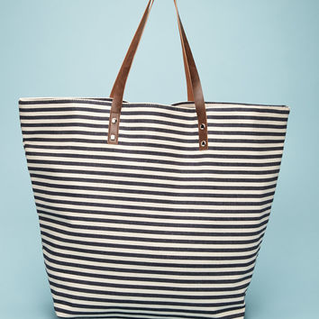 Oversized Striped Tote