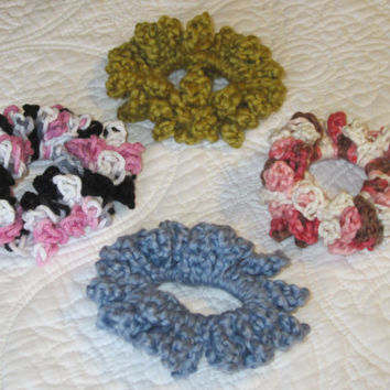 Crochet Hair Scrunchie Cotton Yarn in Various Colors Blue, Green,Multi (Pink,White and Brown) and (Black,White and Pink)