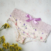 Elastic floral lace panties / Ready to ship
