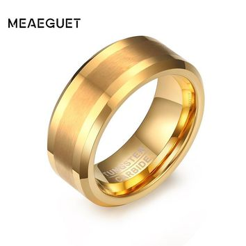 Meaeguet Classic 8MM Wide Men's Solid 100% Tungsten Carbide Engagement Ring Gold-Color Jewelry Wedding Bands USA Size