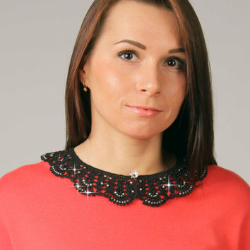 Detachable black crochet collar, Knitted lace collar, crystals collar, ready to ship