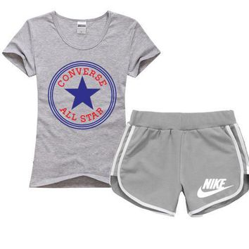 Trendsetter Converse x Nike Women Men Casual Sport T-Shirt Top Tee Shorts Set Two-Piec