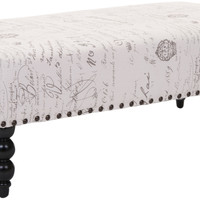 Rylee French Script Ottoman