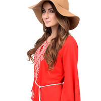 Camel Wide Brim Wool Felt Floppy Hat