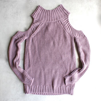 Cold shoulder knit sweater - lavender