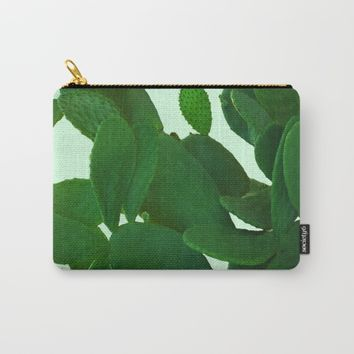 Cactus On Cyan Background Carry-All Pouch by ARTbyJWP