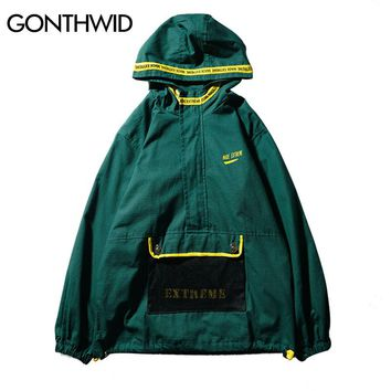 GONTHWID Front Pocket Half Zip Hooded Windbreaker Jacket Hip Hop Casual Pullover Hoodie Coat Mens 2018 Autumn Fashion Streetwear