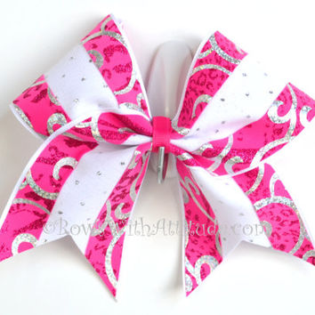 "3"" Wide Luxury Cheer Bow -   Pink & White Swirl Sparkle"