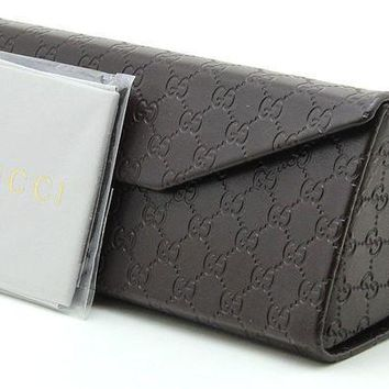 CREYON2D Gucci Tri-fold Leather Glasses Sunglasses Case w/Cleaning Cloth, Extra Large