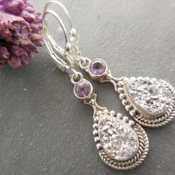 Amethyst & Titanium-Coated Drusy .925 Sterling Silver Earrings