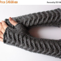 "Fingerless Gloves Long Dark Gray Long Fingerless Gloves Gray 15"" Arm Warmers Mittens Soft Acrylic Wool"
