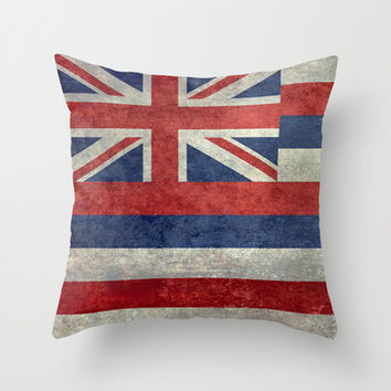 The State flag of Hawaii - Vintage version Throw Pillow by Bruce Stanfield