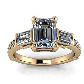 Emerald Cut Moissanite and Diamond Engagement Ring - Becker