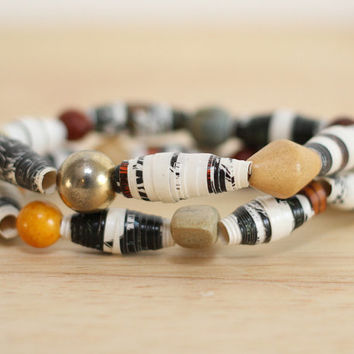 2 Recycled Paper Bead Bracelets, Handmade From Book Pages, The Princess and The Swineherd
