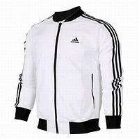 """Adidas"" Fashion Women Men Print Logo Zip Cardigan Jacket Coat Sweatshirt Top White"