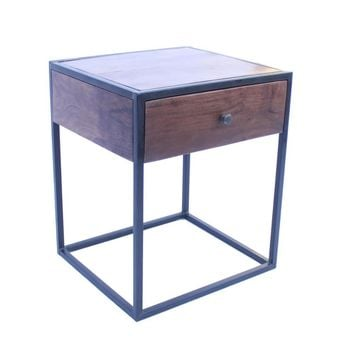 Wooden End Table/Night Stand With One Drawer, Brown & Black By The Urban Port
